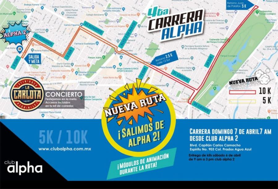 Diario de Puebla - Nueva ruta de la cuarta carrera Alpha